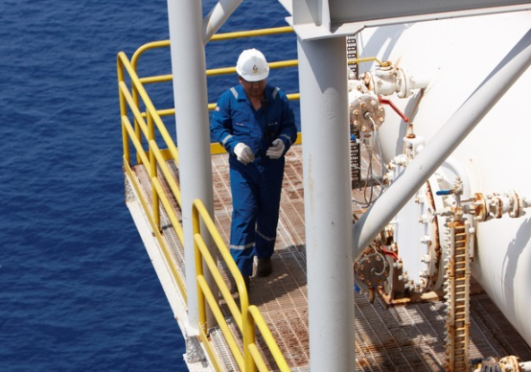 A Petrofac employee on an installation at the Arenque field.
