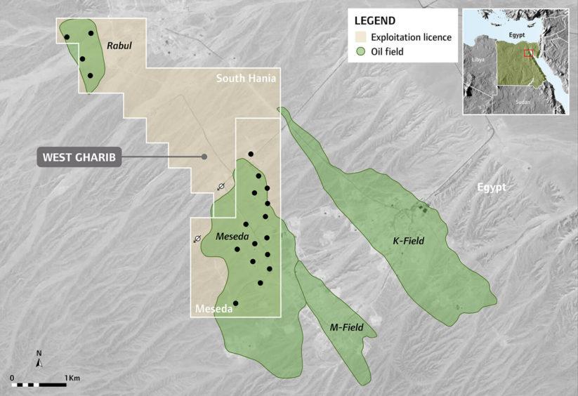SDX's West Gharib block, holding the Meseda and Rabul fields