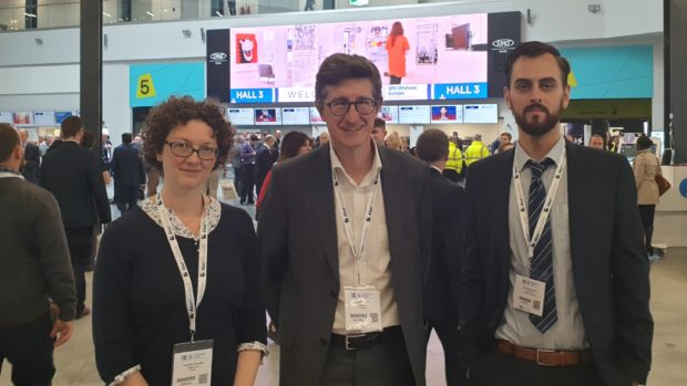 (from left) Isabelle Vervoort and Laurent Schirrer with Jonathan Scafidi.