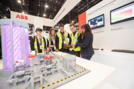 Lochside Academy pupils with Jill Glennie external affairs director at OPITO during EYF at Offshore Europe 2019