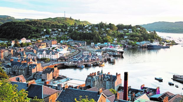 Oban Harbor in Scotland, UK in Evening Light
