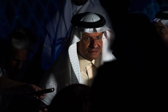 Saudi Arabia's new Energy Minister Prince Abdulaziz bin Salman speaks to journalists at the World Energy Congress in Abu Dhabi, United Arab Emirates, Monday, Sept. 9, 2019.