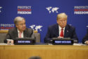 President Donald Trump listens at an event on religious freedom during the United Nations General Assembly, Monday, Sept. 23, 2019, in New York, with UN Secretary General Ant—nio Guterres, left. (AP Photo/Evan Vucci)