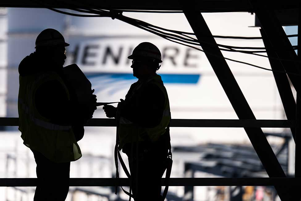 Workers at Cheniere's Corpus Christi LNG plant