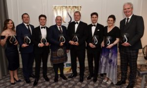 The Press and Journal - Energy Voice - Gold Awards, held at the Chester hotel in Aberdeen. Winners (from left) Health and Safety Award, Jade Crotty; Renewables Award, Kevin Jones; Apprentice, Craig Morgan;  Small Company of the year, Kirk Anderson; Large Company of the Year, Donald Taylor; Innovation, Tristam Horn; Dr Mildred Desselhaus, Kerrie Murray; Industry Leader, Ian Phillips.