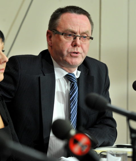 RMT union's Jake Molloy in 2014 at a press conference on the findings of a fatal accident inquiry into a super puma helicopter crash in 2009.