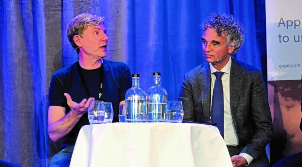 Bjorn Lomborg, president of the Copenhagen Consensus Centre, left, and Mark van Baal, a Dutch activist best known for founding Follow This.