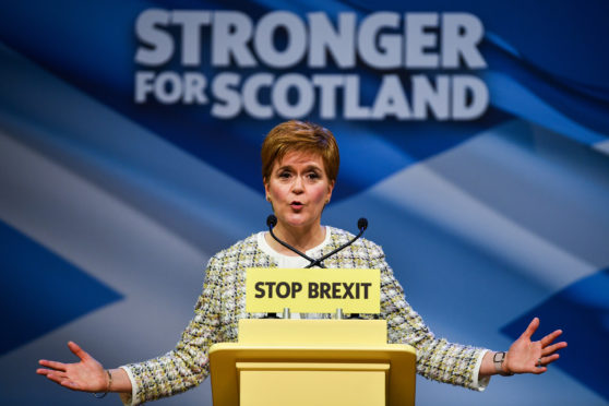 Nicola Sturgeon launches the SNP's general election manifesto at SWG3 studio warehouse on November 27, 2019 in Glasgow, Scotland.  (Photo by Jeff J Mitchell/Getty Images)