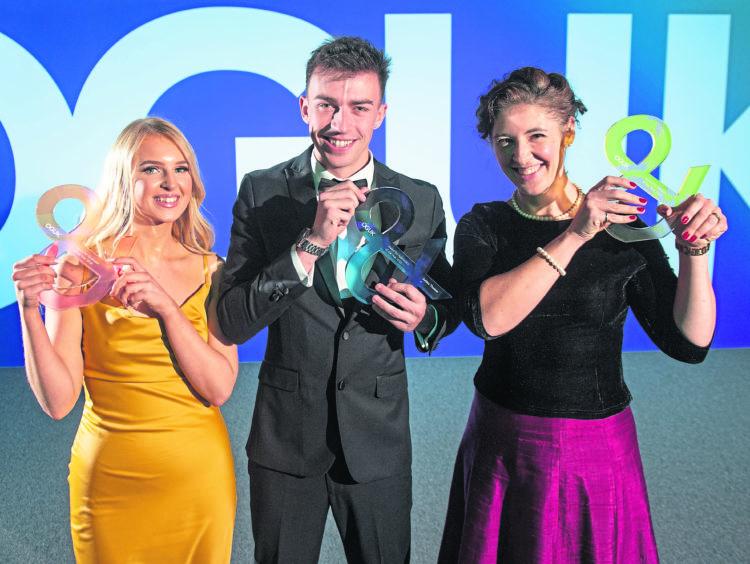 WINNERS: From left, OGUK Graduate of the Year Award 2019 Erin Ingram of Taqa; OGUK Apprentice of the Year Award 2019 Ashley Thomas, of BP; and OGUK Mentor of the Year Award 2019 Teresa Waddington of Shell UK