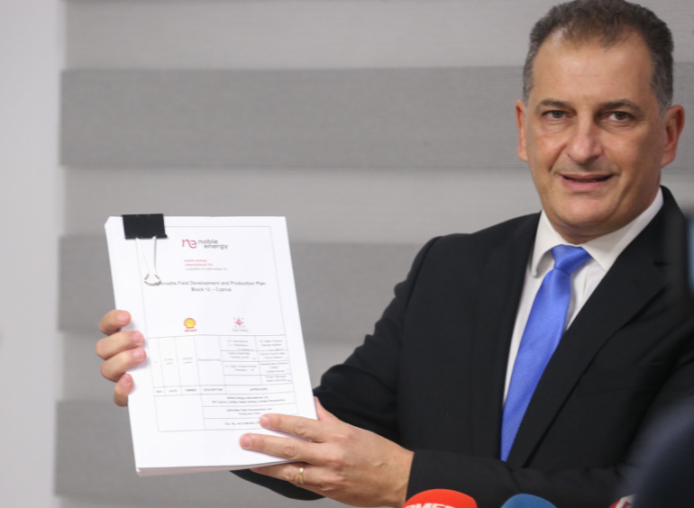 Cyprus Minister of Energy, Commerce and Industry Georgios Lakkotrypis signs off on the exploitation licence for the Aphrodite field