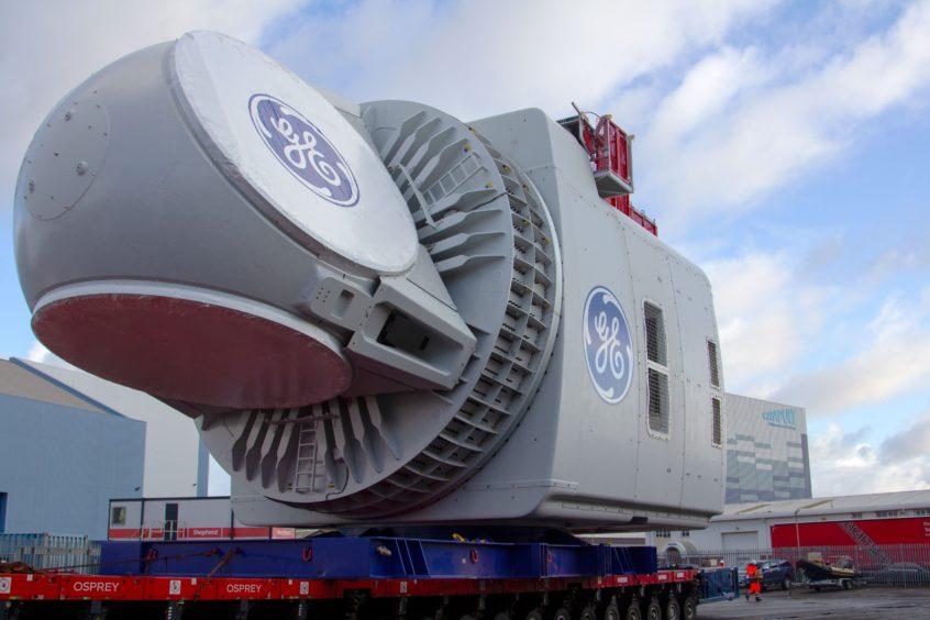 GE Renewable Energy turbine nacelle.