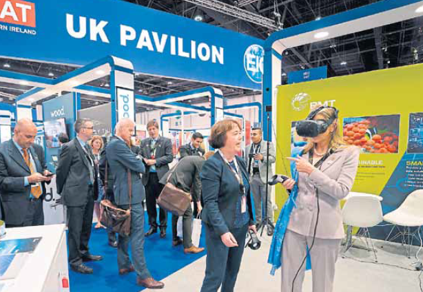 INNOVATIVE: Attendees try out the virtual reality system and other digital technologies at the exhibition