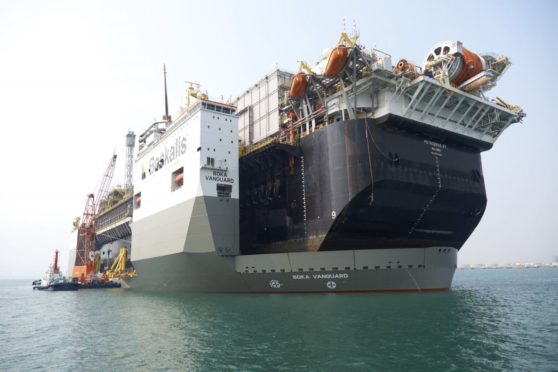 Transport of the P-67 FPSO by the BOKA Vanguard from China to Brazil. Pic: Boskalis