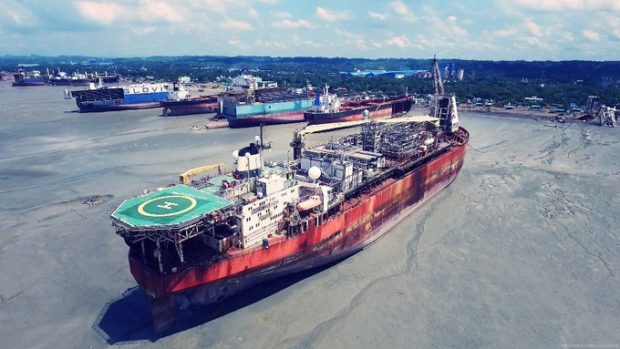 The North Sea Producer on Chittagong Beach. Pic: NGO Shipbreaking Platform