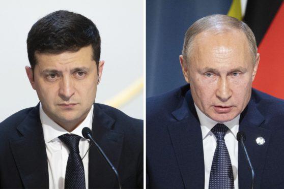 Ukrainian President Volodymyr Zelenskiy and Russian President Vladimir Putin.