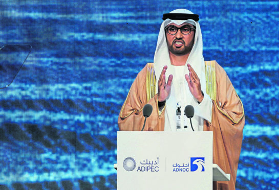 Sultan Ahmed al-Jaber, the Emirati minister of state and the CEO of Abu Dhabi's state-run Abu Dhabi National Oil Co., ADNOC, speaks at the opening ceremony of the Abu Dhabi International Petroleum Exhibition & Conference, ADIPEC, in Abu Dhabi, United Arab Emirates Emirates Oil Exhibition, Abu Dhabi, United Arab Emirates - 11 Nov 2019 Photo by Kamran Jebreili/AP/Shutterstock (10471756a)