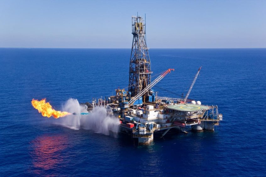 Drill stem test at Leviathan. Source: Albatross Aerial Perspective, via Delek Drilling