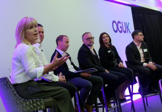 Oil and Gas UK and Deloitte event on collaboration at the Chester Hotel. From left, Sian Lloyd-Rees (Aker Solutions), Phil Kirk (Chrysaor), Graham Hollis (Delloitte), Martin White (Halliburton), Emily Taylor (OGUK) and Steve Phimister (Shell).