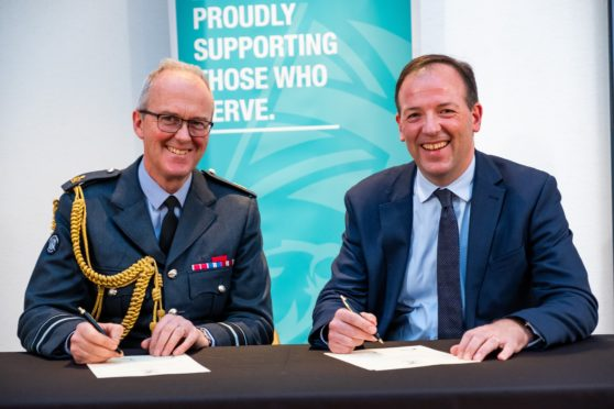 Air Vice Marshal Ross Paterson, Air Officer Scotland, left and John Stewart, HR Director of SSE. ©Stuart Nicol Photography, 2019