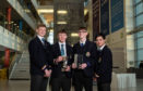 Paddy Petroleum, the winning team from Robert Gordon's College are pictured at BP's North Sea headquarters with their STEM in the Pipeline 2019 award (L-R) Alistair Finch, Patrick Ashdown, Douglas Fraser and Sean Alger.
