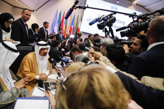 Khalid Al-Falih ahead of the 176th OPEC meeting in Vienna in July 2019. Photographer: Stefan Wermuth/Bloomberg