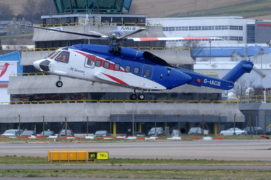 A Bristow S-92 helicopter taking off from its North Sea base in Aberdeen.