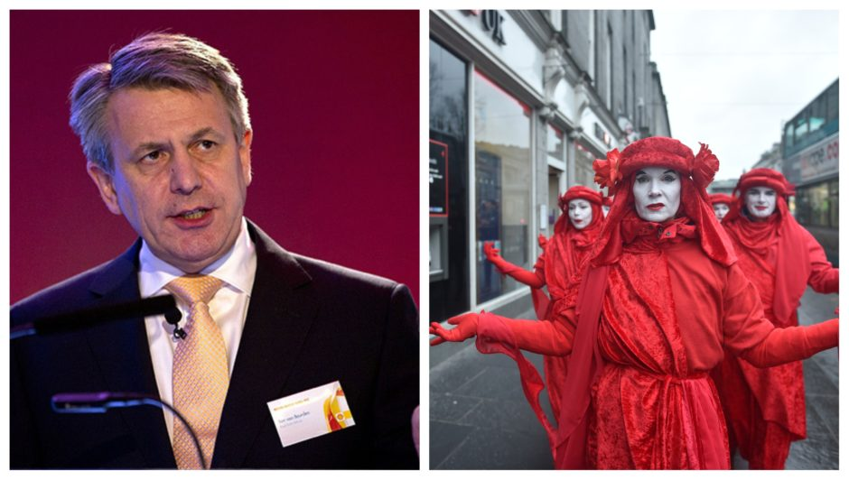 """Shell CEO Ben Van Beurden said he sees """"no reason"""" to change up North Sea investment. Right: Extinction Rebellion protestors in Aberdeen earlier this month."""
