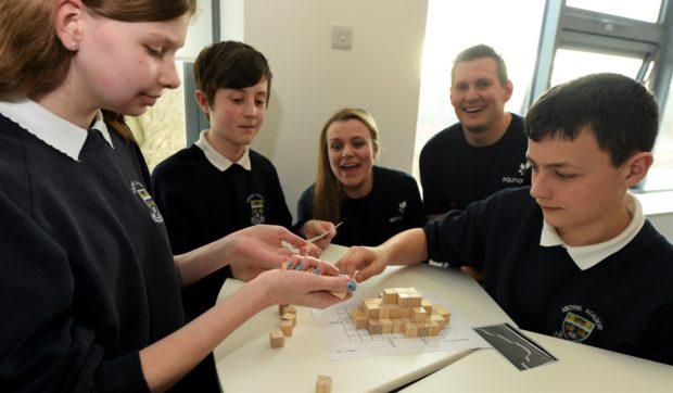 Heroes of Tomorrow event with Techfest at RGU, Aberdeen. In the picture are from left: Sarah Chew, managing director of Techfest and Arne Gurtner, Equinor senior vice president UK with pupils from Aboyne Academy.  Picture by Jim Irvine.