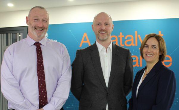 From the left, Alistair Macfarlane, Scott Robertson and Pauline Innes.