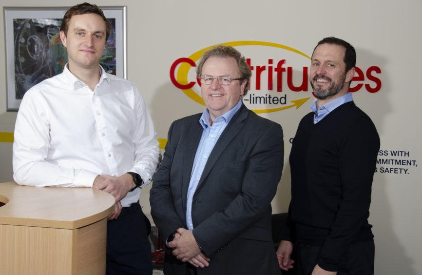 Centrifuges Un-Limited managing director Jim Shiach (centre), with James Scullion (left) and John Dick (right) from Linton Investments.