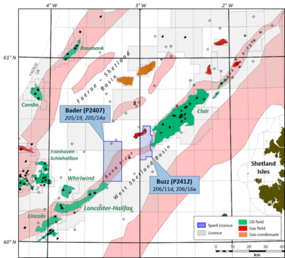Spark Exploration's licences neighbour Hurricane Energy's Lancaster field and BP's Clair development.