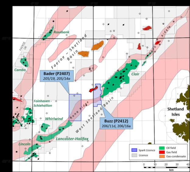 Spark Exploration's licences neighbour Hurricane Energy's Lancaster field and BP's Clair development.