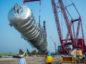 The arrival of the crude distillation tower in December 2019. Source: Dangote Industries