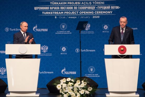 Recep Tayyip Erdogan, President of Republic of Turkey, and Vladamir Putin, President of Russian Federation,gives a speech at TurkStream opening ceremony at Halic Congress Center in Istanbul,Turkey on Wednesday,Oct 07 , 2020.Photographer: Kerem Uzel/Bloomberg