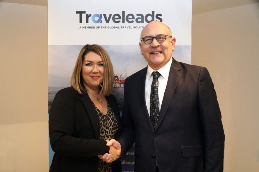 L-R: Sally Cassidy, Traveleads Group Sales Director and Energy Industries Council CEO Stuart Broadley.