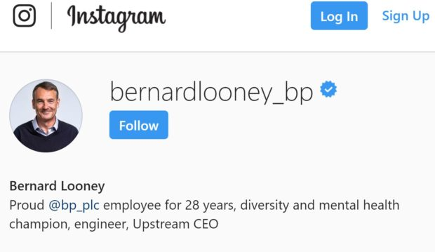 Bernard Looney is the first boss of an oil major to join Instagram with an official account.