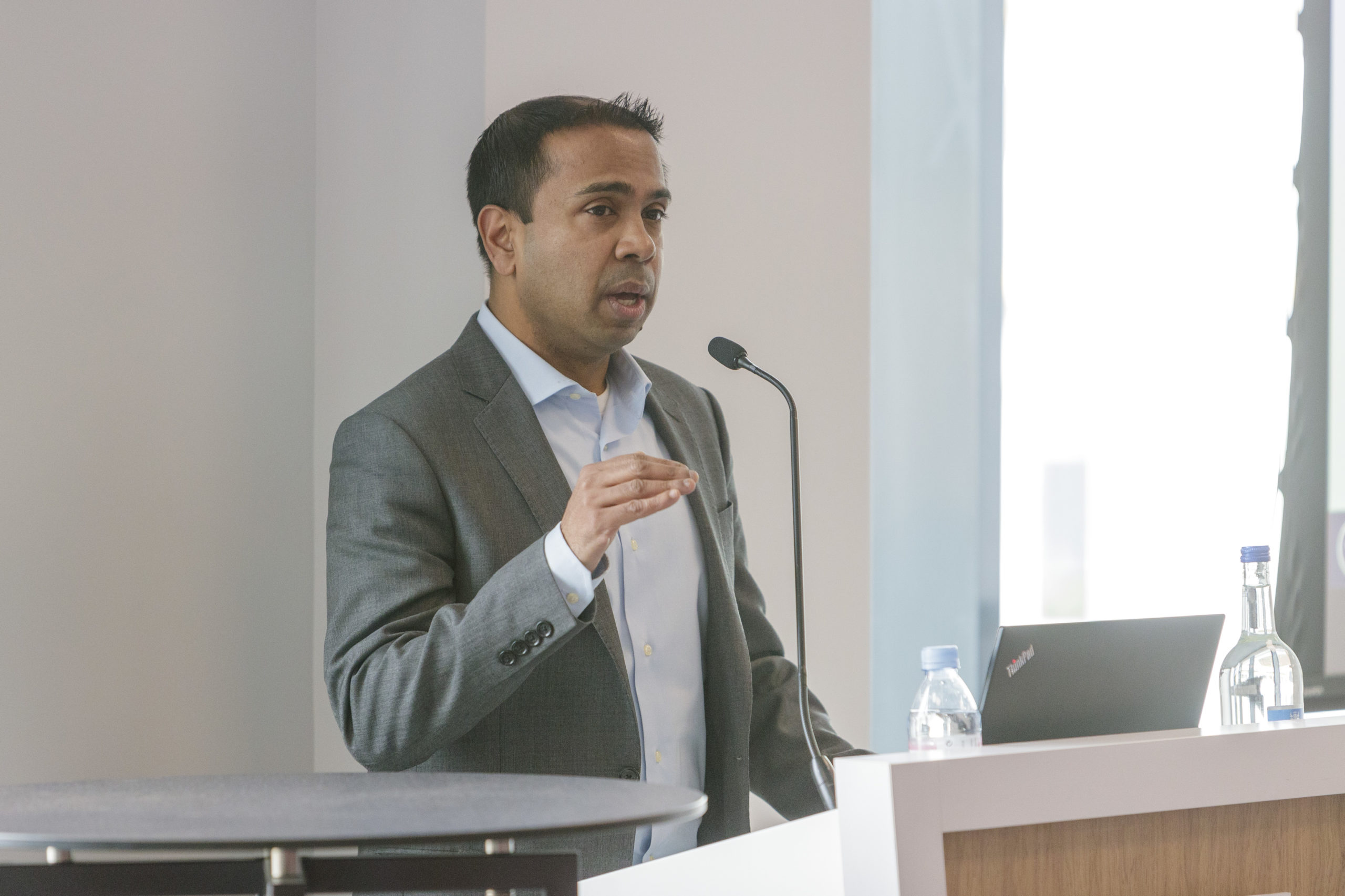 Arindam Das, group head of consulting at Westwood Global, was speaking alongside colleague Dominic Stirling at Subsea Expo   (Photo: Ross Johnston/Newsline Media)