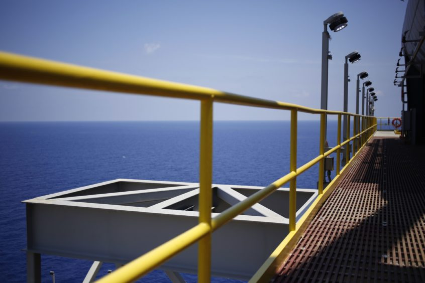 The view from an oil platform in the Gulf of Mexico. Photographer: Luke Sharrett/Bloomberg