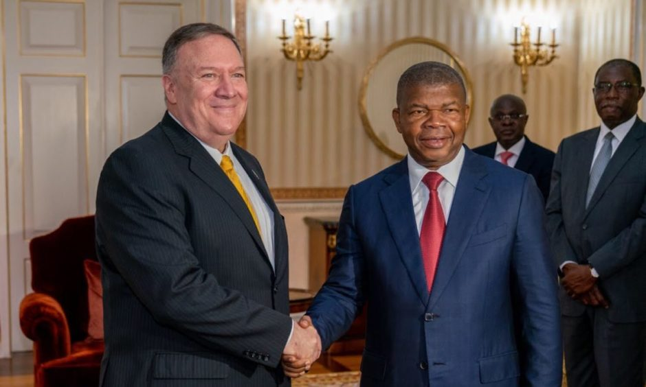 Angolan President Joao Lourenco and US Secretary of State Mike Pompeo
