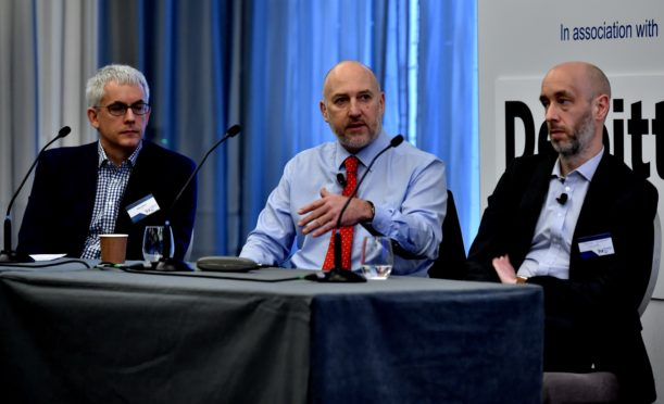 Press and Journal Business Breakfast - Mergers and Acquisitions - held at the Chester Hotel in Aberdeen. The Panel - Mike Sibson, Mike Beveridge and Daniel Grosvenor.. Picture by COLIN RENNIE   20 Feb 2020.