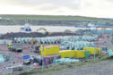 Work on-going at the extension of Aberdeen Harbour.