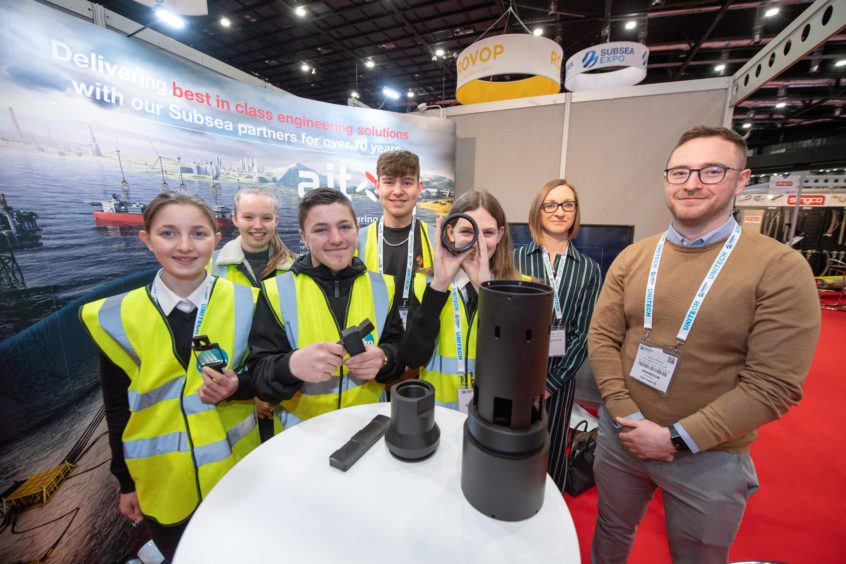 OPITO Energise Your Future Event at Subsea Expo 2020  Pictured is: Meldrum Academy pupils at AJT stand with Ashleigh Thomson and James Stewart from AJT.  Picture by Abermedia / Michal Wachucik