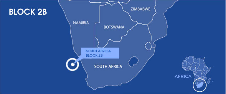 Map showing South Africa's Block 2B