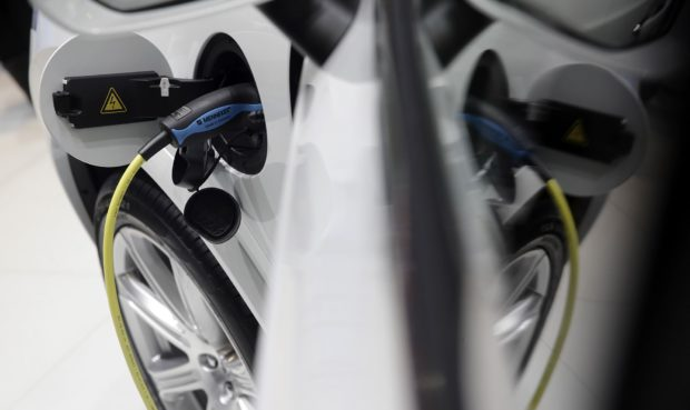 A charging plug in an electric automobile. Photographer: Matthew Lloyd/Bloomberg
