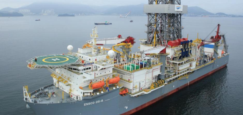 A drillship on a grey sea