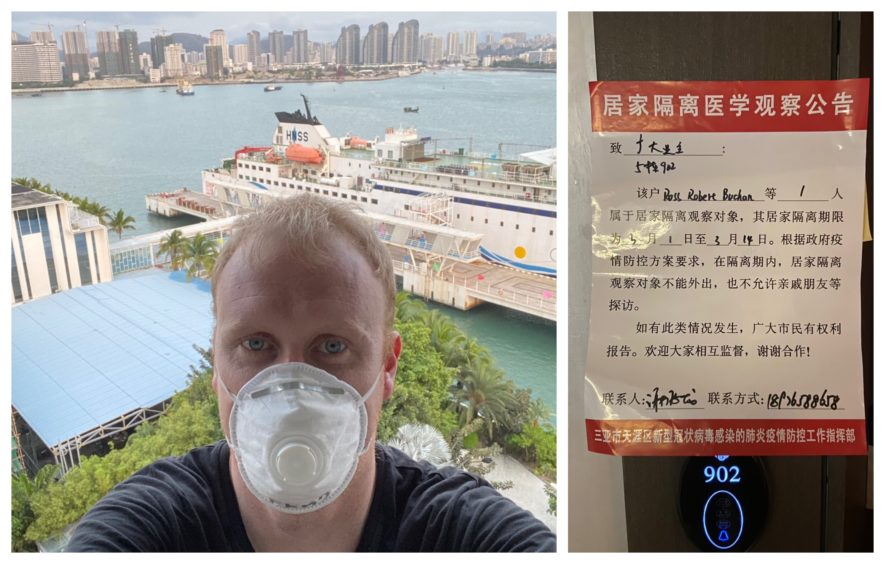Ross Buchan, from Fraserburgh, pictured left at his hotel in Sanya, China where he is in quarantine. Mr Buchan said he has no symptoms of the coronavirus. Right: A sign warning others that he is in isolation.