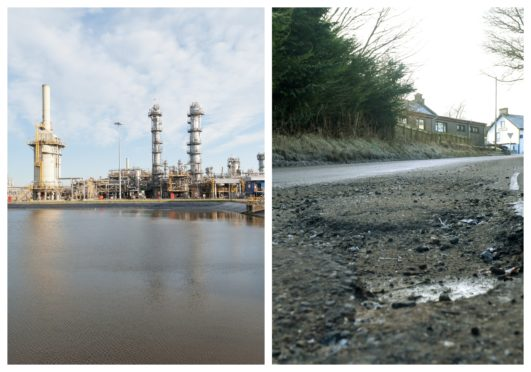 Chancellor Rishi Sunak pledged a third of the cash for CCS, a vital net zero tech, as he did to fixing potholes. Left: The Acorn CCS project is based at the St Fergus gas plant, Aberdeenshire.