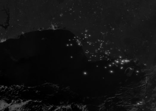 Niger Delta by night with gas flares Source: NASA Earth Observatory