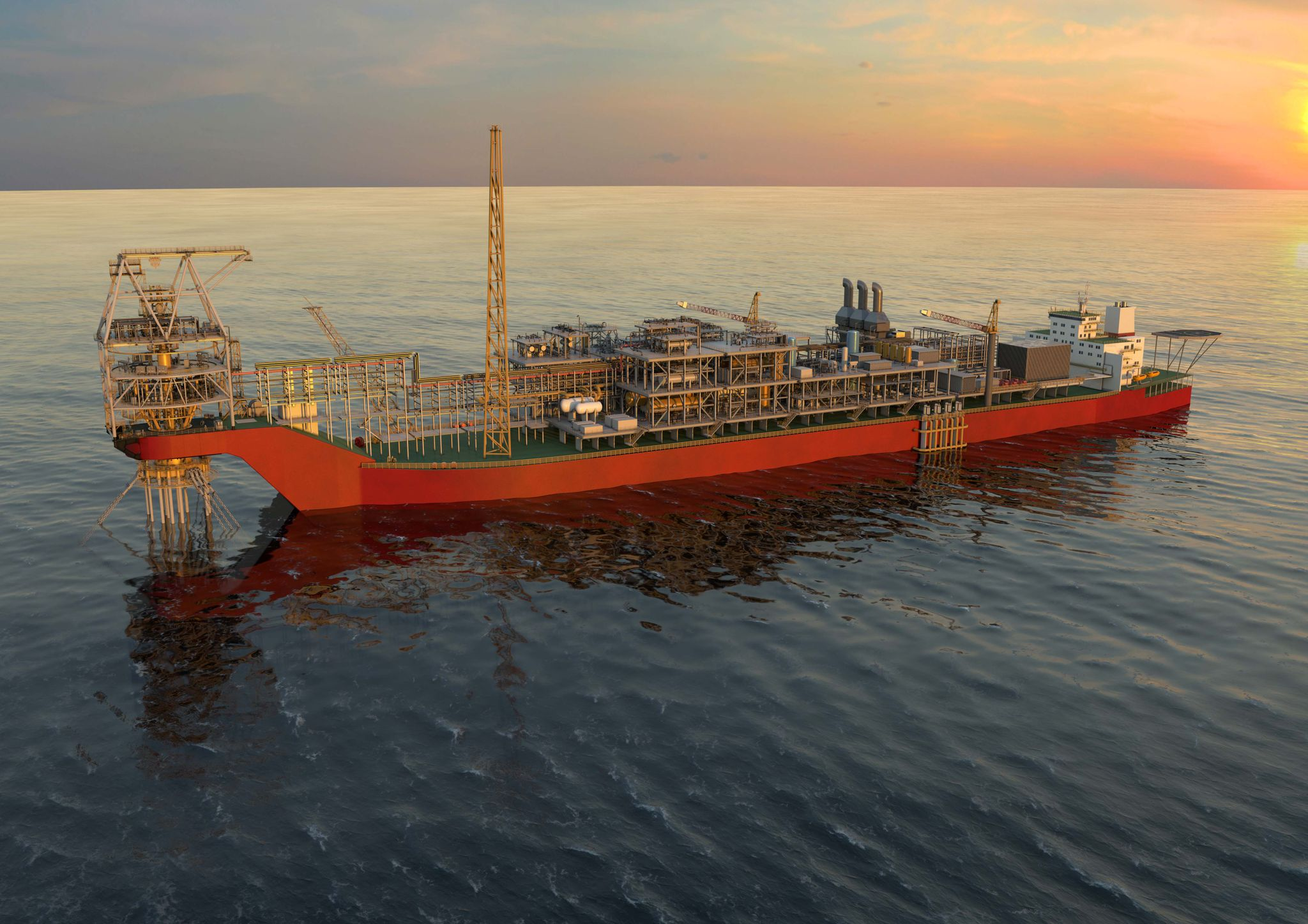 Rendering of an FPSO in the water