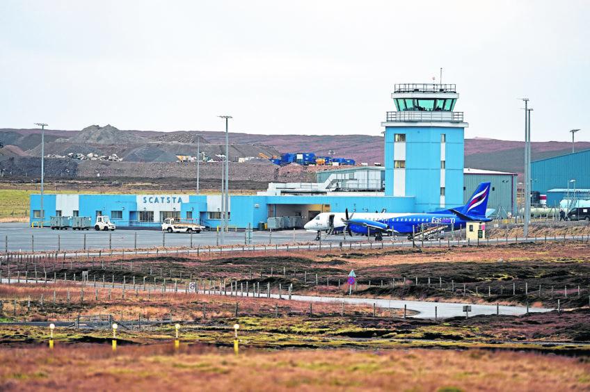 Scatsta Airport, Shetland.  Picture by Jim Irvine  27-1-16